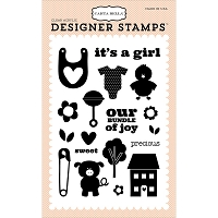 Carta Bella - It's a Girl Collection - Precious Girl Stamp