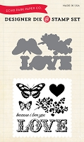 Carta Bella - Words of Love Collection - Because I Love Die & Clear Stamp set