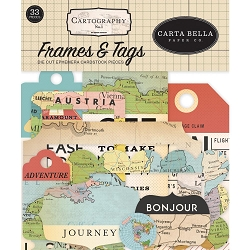 Carta Bella - Cartography No.1 Collection - Die Cut Tags & Frames
