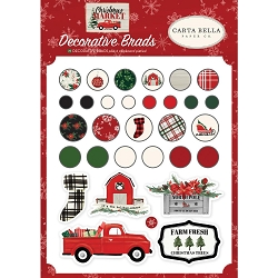 Carta Bella - Christmas Market Collection - Decorative Brads & Chipboard