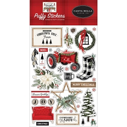 Carta Bella - Farmhouse Christmas Collection - Puffy Stickers