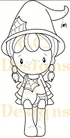 C.C. Designs - Cling Mounted Rubber Stamp - Swiss Pixie Halloween Birgitta