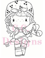 C.C. Designs - Cling Mounted Rubber Stamp - Swiss Pixie Violet with Key
