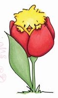 C.C. Designs - Cling Mounted Rubber Stamp - Tulip Peep