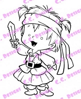 C.C. Designs - Cling Mounted Rubber Stamp - Roberto's Rascals Pirate Twila