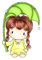C.C. Designs - Cling Mounted Rubber Stamp - Swiss Pixie Rainy Day Birgitta
