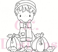 C.C. Designs - Cling Mounted Rubber Stamp - Swiss Pixie Fall Hansel