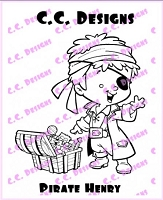C.C. Designs - Cling Mounted Rubber Stamp - Roberto's Rascals Pirate Henry