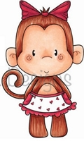 C.C. Designs - Cling Mounted Rubber Stamp - Mrs Monkey