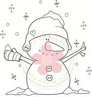 C.C. Designs - Cling Mounted Rubber Stamp - Snowman