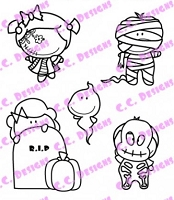 C.C. Designs - Cling Mounted Rubber Stamp - Meoples Night of Fright