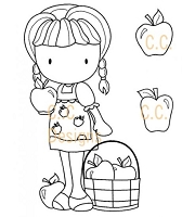 C.C. Designs - Cling Mounted Rubber Stamp - Sugarplums Apple Emma