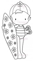 C.C. Designs - Cling Mounted Rubber Stamp - Sugarplums Surfer Emma