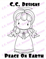 C.C. Designs - Cling Mounted Rubber Stamp - Swiss Pixie Peace On Earth