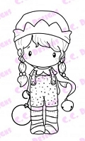 C.C. Designs - Cling Mounted Rubber Stamp - Swiss Pixie Santas Helper