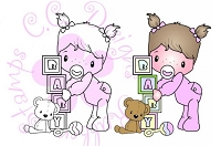 C.C. Designs - Cling Mounted Rubber Stamp - Swiss Pixie Baby Girl