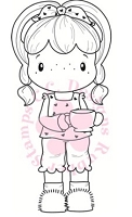 C.C. Designs - Cling Mounted Rubber Stamp - Swiss Pixie Coffee Birgitta