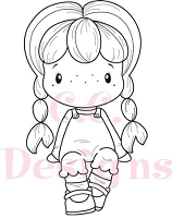 C.C. Designs - Cling Mounted Rubber Stamp - Swiss Pixie Cute Birgitta