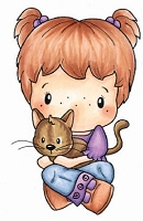 C.C. Designs - Cling Mounted Rubber Stamp - Swiss Pixie Heidi with Kitty
