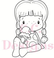 C.C. Designs - Cling Mounted Rubber Stamp - Swiss Pixie Ice Cream Birgitta