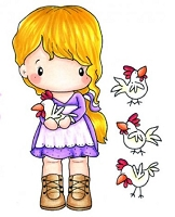 C.C. Designs - Cling Mounted Rubber Stamp - Swiss Pixie Lucy with Chickens