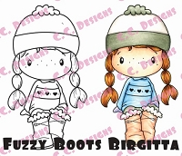 C.C. Designs - Cling Mounted Rubber Stamp - Swiss Pixie Fuzzy Boot Birgitta