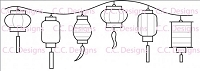 C.C. Designs - Cling Mounted Rubber Stamp - Line Of Lanterns