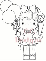 C.C. Designs - Cling Mounted Rubber Stamp - Swiss Pixie Birthday Gretel