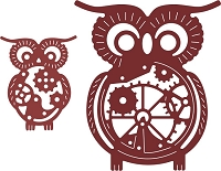 Cheery Lynn Designs - cutting die - Owls with Gears (Set of 2) (Steampunk Series)