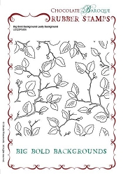 Chocolate Baroque - Big Bold Background Leafy Unmounted Stamp (5.75