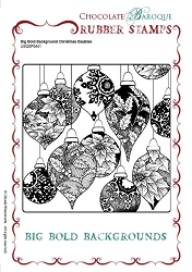 Chocolate Baroque - Big Bold Background Christmas Baubles Unmounted Stamp (5.75