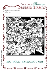 Chocolate Baroque - Big Bold Background Poinsettia Unmounted Stamp (5.75
