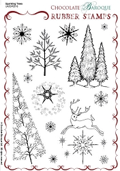 Chocolate Baroque - Sparkling Trees Unmounted Stamp Sheet (5.5
