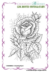 Chocolate Baroque - Cling Mounted Rubber Stamp - Crackling Rose