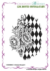Chocolate Baroque - Cling Mounted Rubber Stamp - Harlequin Bouque