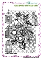 Chocolate Baroque - Cling Mounted Rubber Stamp - Birdcage Collage