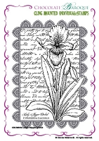 Chocolate Baroque - Cling Mounted Rubber Stamp - Lady's Slipper Orchid