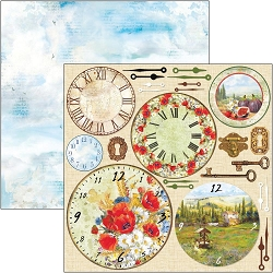 Ciao Bella - Under the Tuscan Sun Collection - Tuscan Clocks 12x12 Cardstock