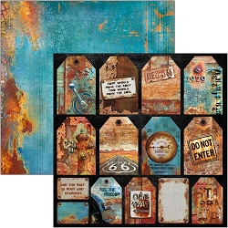 Ciao Bella - Collateral Rust Collection - Rusted Tags 12x12 Cardstock