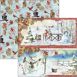 Ciao Bella - Northern Lights Collection - Snowmen 12x12 Cardstock
