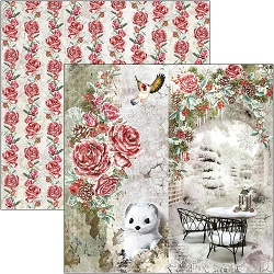 Ciao Bella - Frozen Roses Collection - Frozen Roses 12x12 Cardstock