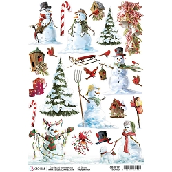 Ciao Bella - Northern Lights Collection - Snowmen Piuma Rice Paper
