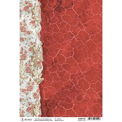 Ciao Bella - Frozen Roses Collection - Ancient Red Piuma Rice Paper