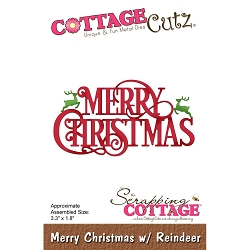 Cottage Cutz - Die - Merry Christmas With Reindeer