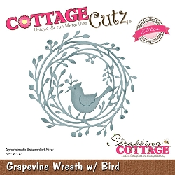Cottage Cutz - Die - Grapevine Wreath W/Bird  (Elite)