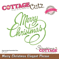 Cottage Cutz - Die - Merry Christmas Elegant Phrase (Elite)