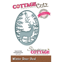 Cottage Cutz - Die - Winter Deer Oval (Elite)