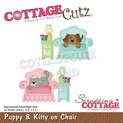 Cottage Cutz - Die - Puppy & Kitty On Chair