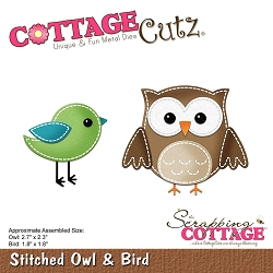 Cottage Cutz - Die - Stitched Owl & Bird