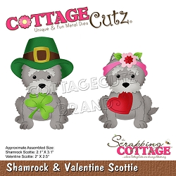 Cottage Cutz - Die - Shamrock & Valentine Scottie